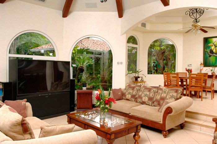 living room at luxury rental villa in los suenos, costa rica