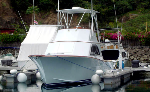 charter boat at los suenos dock in costa rica