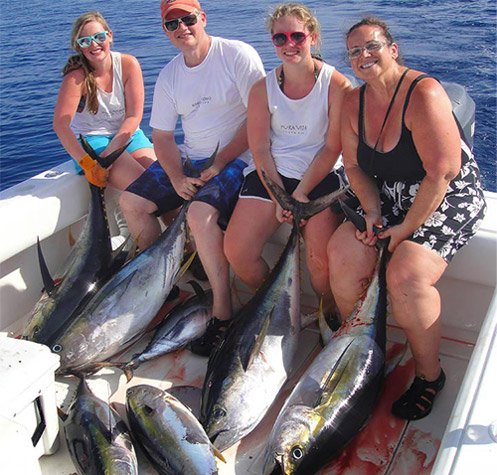 group on a fishing charter in Costa Rica