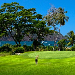 golfer on the greens in Los Suenos, Costa Rica