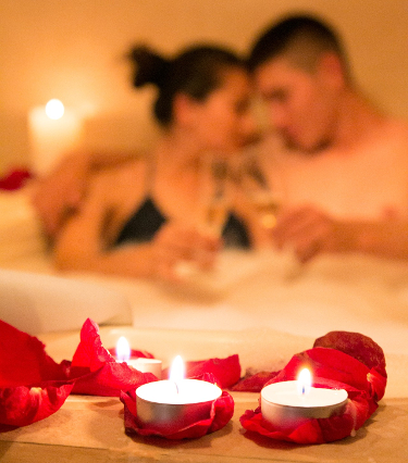 couple in a spa tub