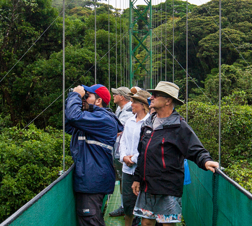 family at hanging bridge in Costa Rica