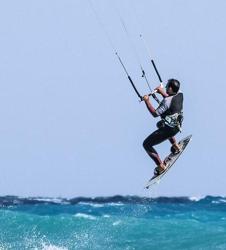 man kitesurfing in Costa Rica