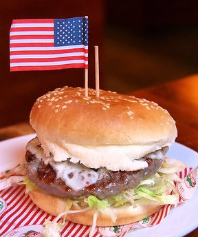 hamburder with an american flag