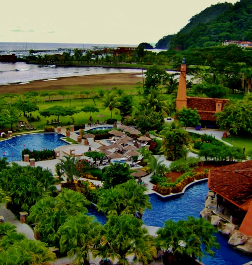 aerial view of pool at los suenos marriott in costa rica