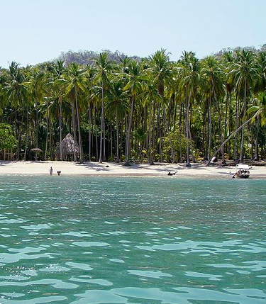 water and shoreline of Tortuga Island in Costa Rica